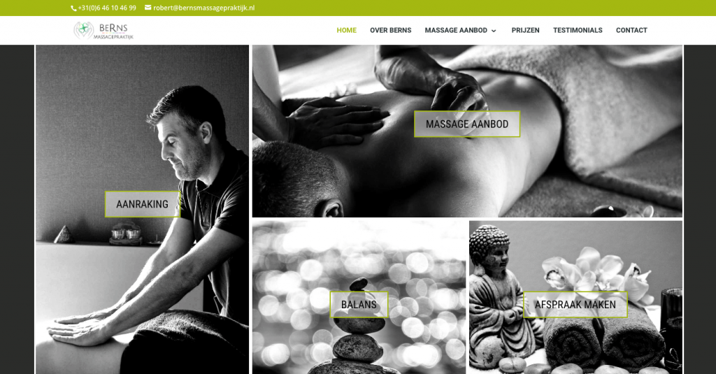My first website for Berns Massagepraktijk