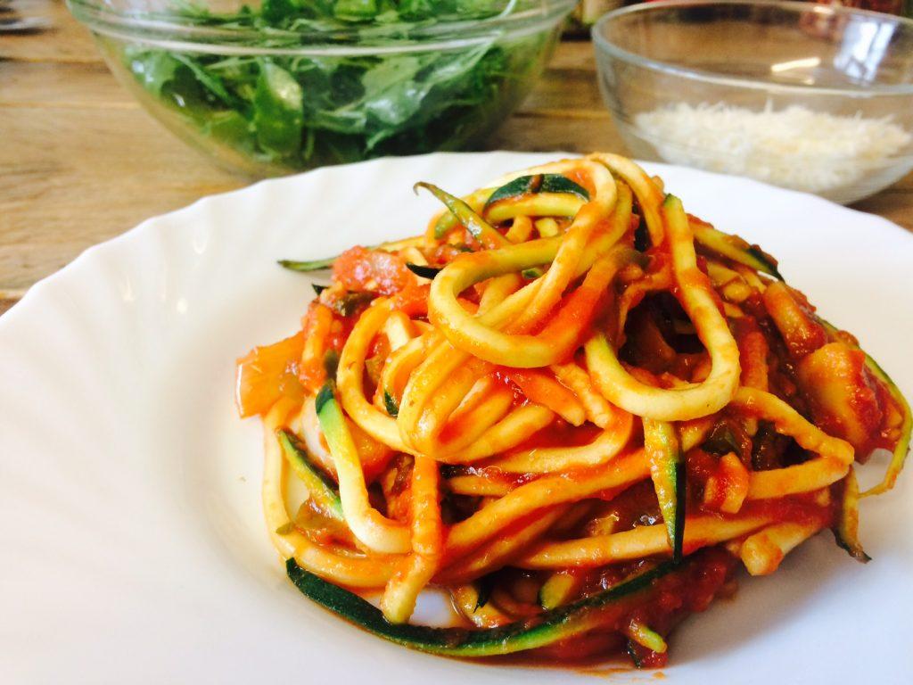 Home made zucchini pasta